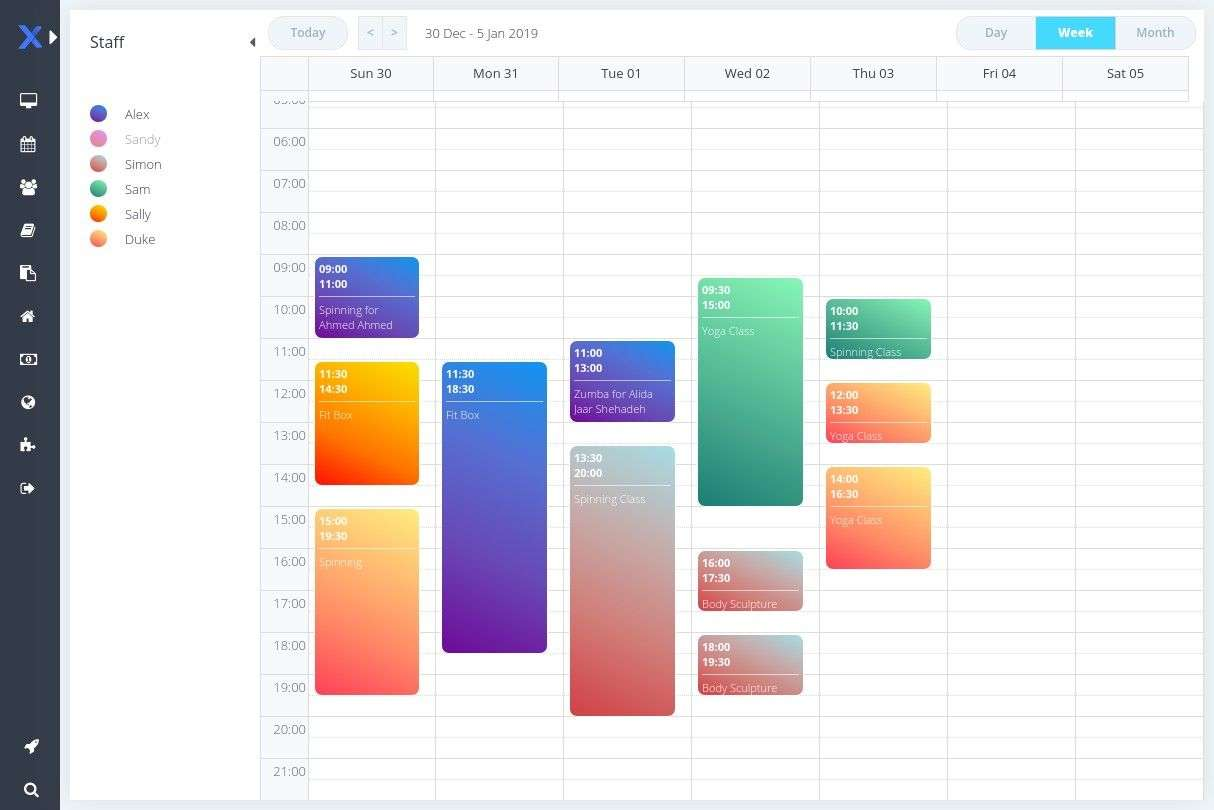 Online scheduler for personal trainer
