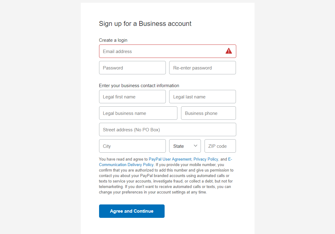 paypal account creation