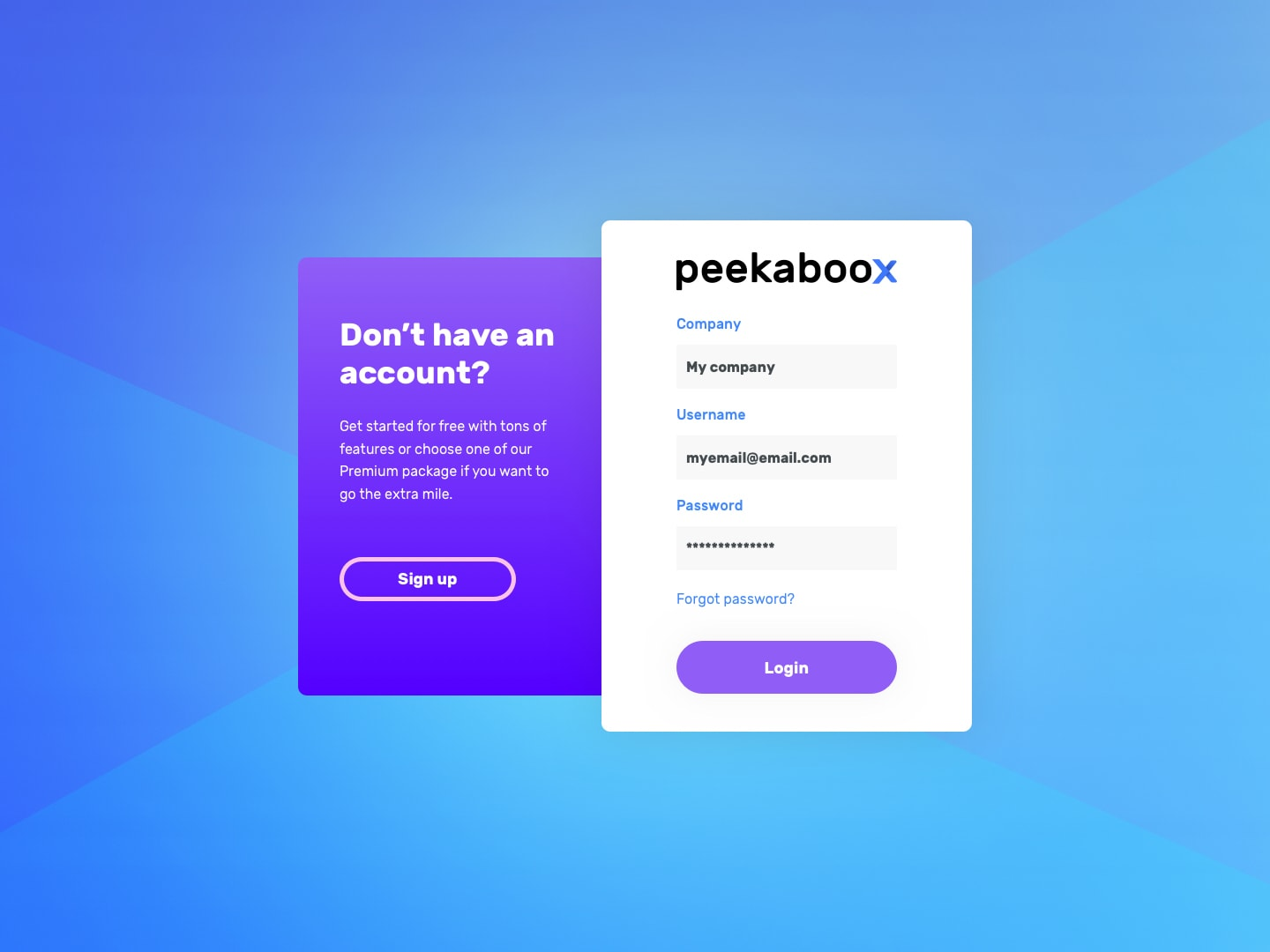 Peekaboox - How to login