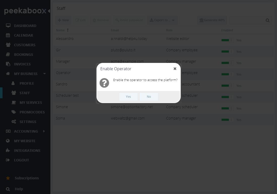 enable operator