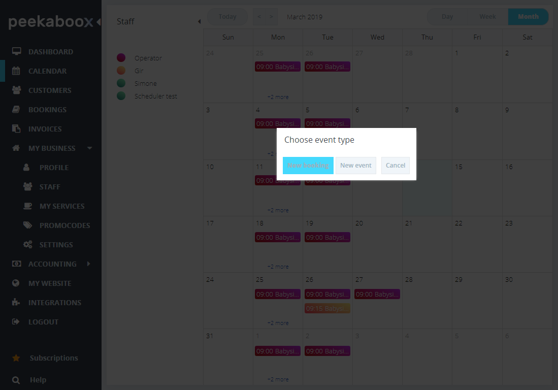 booking through calendar