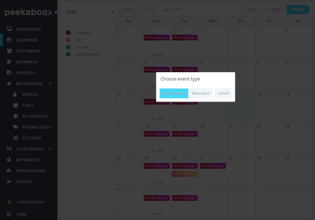 booking through calendar