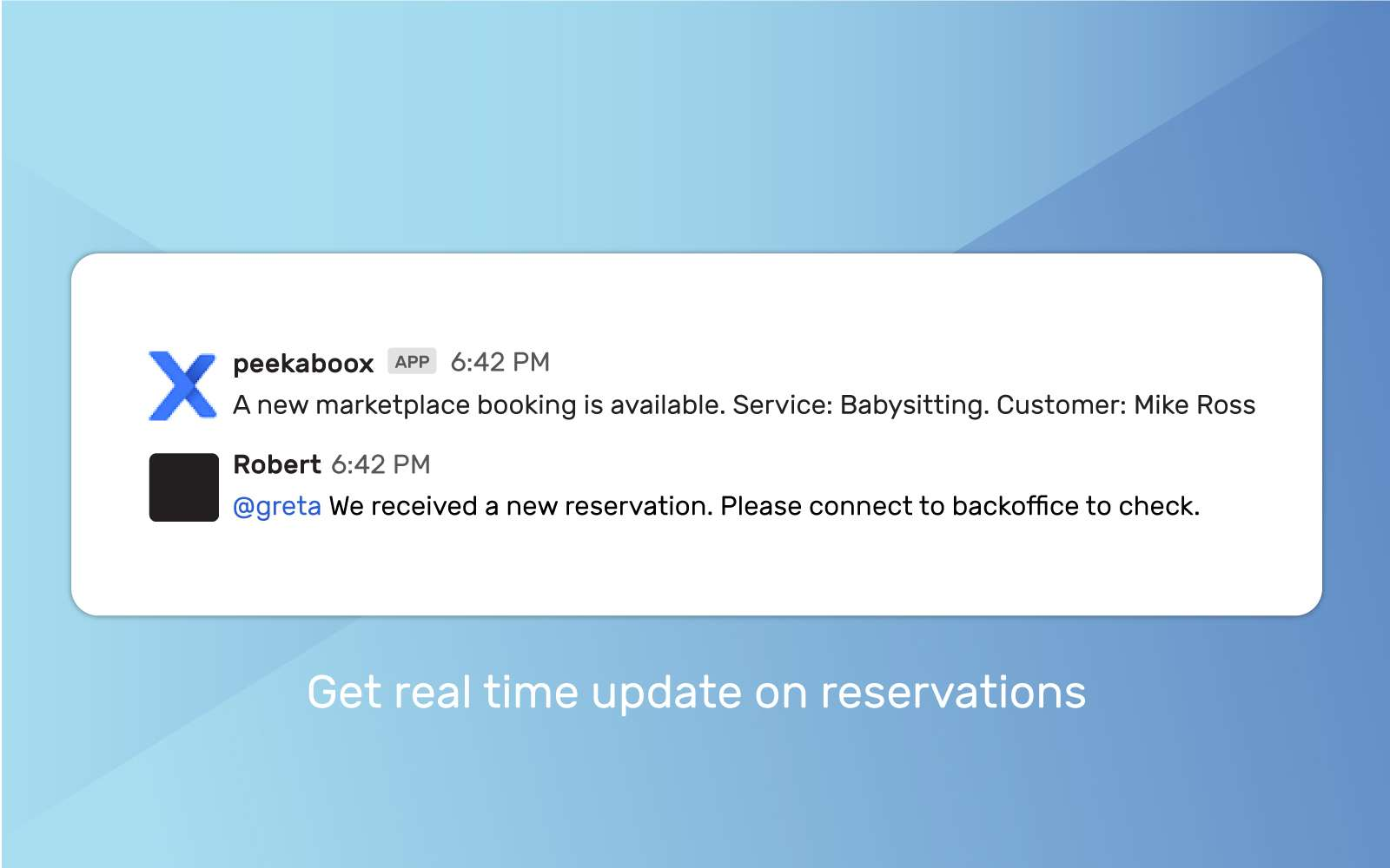 new reservation sent to Slack